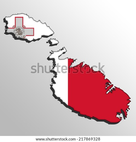 Vector map with the flag inside - Malta  - stock photo