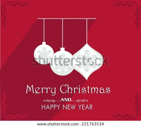 Vector Merry Christmas and Happy New Year card design