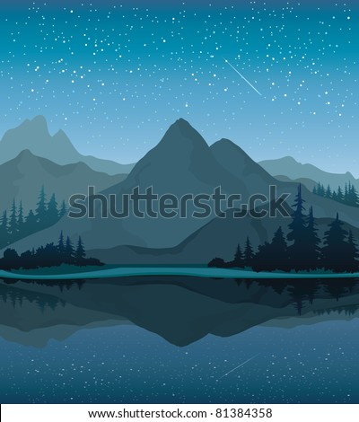 Vector night landscape with mountains, lake and forest on a starry sky background - stock photo