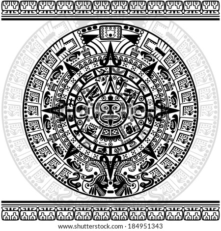 Vector of Aztec calendar on white background.