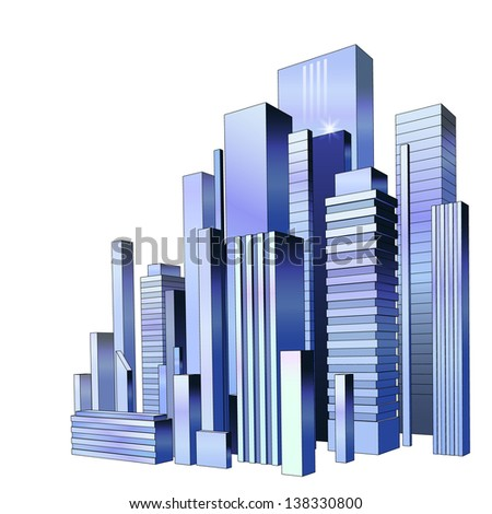Vector of graphical urban cityscape. Raster version. - stock photo