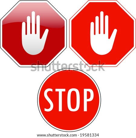 Vector pack of stop signs isolated on pure white (new glossy vs old one color) - also available as vector - stock photo
