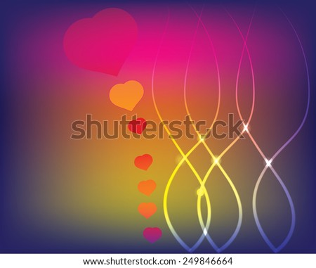 Vector set of heart and tree fancy for love - stock photo