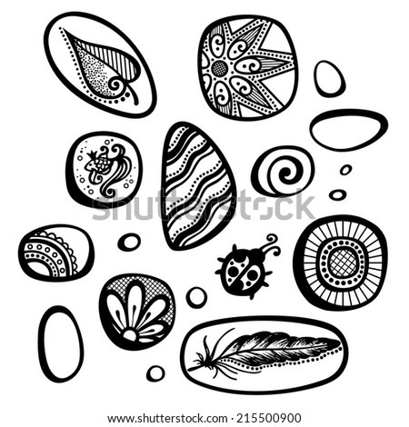 Vector Set of Ornate Pebbles. Collection of Patterned Deco Elements - stock photo