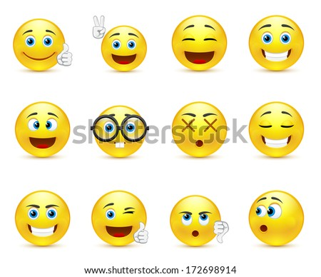 vector set - smiley faces expressing different feelings - stock photo