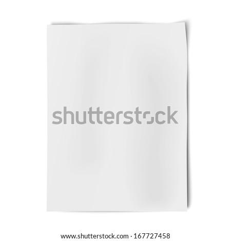 Vector sheet of white paper isolated on white background. Raster version illustration. - stock photo