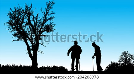 Vector silhouette of old people in nature along the beautiful days. - stock photo
