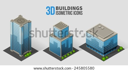 Vector skyscrapers with trees, isometric buildings of glass and concrete. 3D icons in the form of a skyscraper with glass facades, and bushes around - stock photo