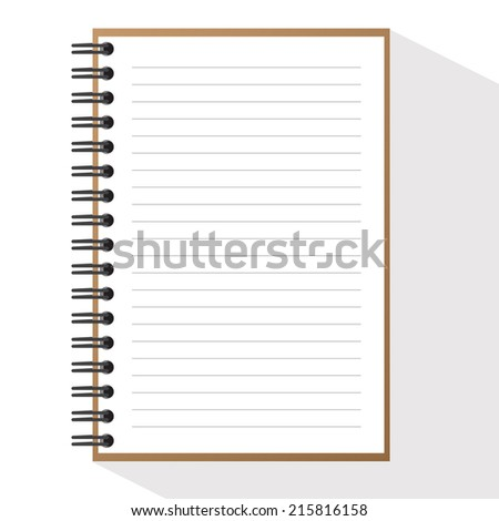 Vector Spiral Brown note book - stock photo
