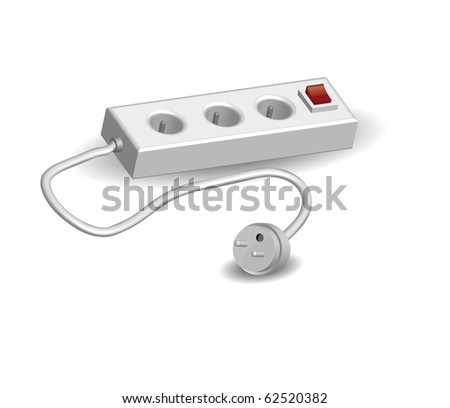 vector three dimensions real extension cords - stock photo