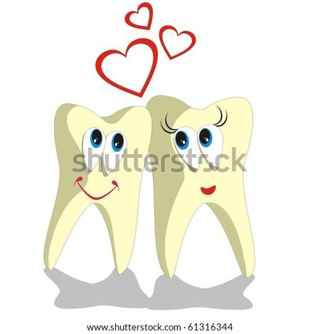 Vector. Tooth cartoon set 002 - stock photo