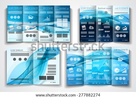 Vector tri fold brochure template design or flyer layout to use for business applications, magazines, advertising, product sheets, item notes, event flyers or meeting invitations. - stock photo