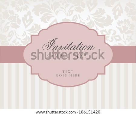 Vector vintage background and frame with sample text, for invitation or announcement - stock photo
