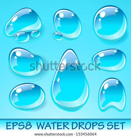 Vector Water Drops Icon Set. Raster version. - stock photo