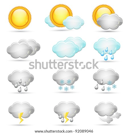 Vector weather icons collection - stock photo