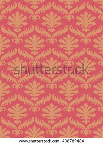 Vector wrapping leaves damask seamless floral pattern background for website, wallpaper, repeating foliage floral western damask flower organic, coral drapery luxury tiled decor old revival venetian  - stock photo