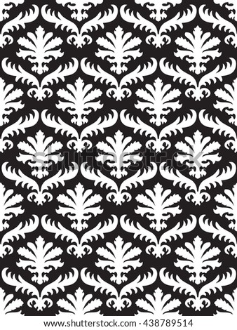 Vector wrapping leaves damask seamless floral pattern background for website, wallpaper, repeating foliage floral western damask flower organic, black drapery luxury tiled decor old revival venetian  - stock photo