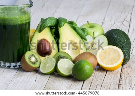 Vegan and vegetarian avocado, lime, lemon apple and kiwi vegetables, mixed in a smoothie