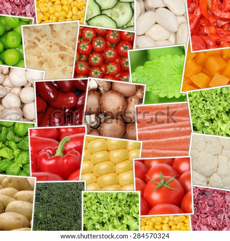 Vegan and vegetarian vegetables background with tomatoes, paprika, herbs, mushrooms, lettuce, potatoes, beans and cucumber - stock photo