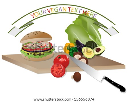 Vegan burger and vegetables on wooden cutting board  - stock photo
