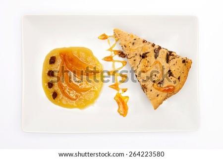 Vegan chocolate, cranberries and almond cake (top view)  - stock photo