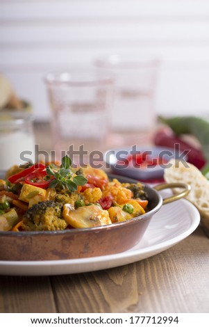 Vegan curry with tofu, mushrooms and vegetables