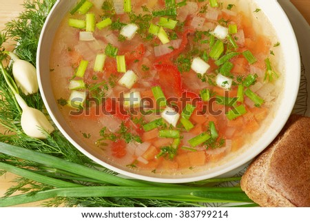 Vegan food. Close-up of freshly made vegetable soup in bowl. - stock photo