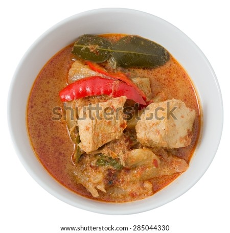 Vegan Food, Delicious A Plate of Thai Spicy Red Curry with Textured Vegetable Protein, Pineapple and Coconut Milk Isolated on White Background. - stock photo