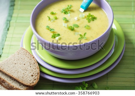 vegan herbal cream soup with bread slices