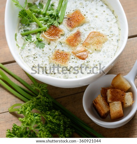 vegan herbal cream soup with croutons - stock photo