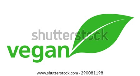 Vegan Logo with a single fresh green leaf behind lowercase text - vegan - on a white background, simple stylish illustration - stock photo