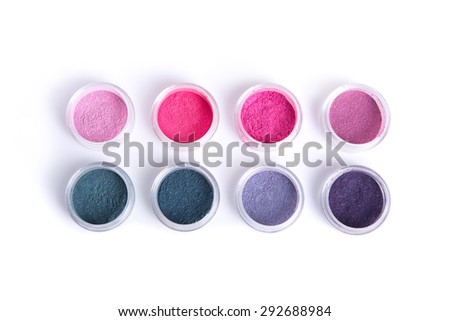 Vegan mineral eye shadows, top view isolated on white background with natural shadow  - stock photo