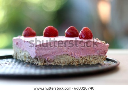 Vegan Raw Strawberry Cake Ingredients Are Strawberries Coconut Butter Coconut Flour