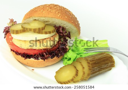 Vegan Sea Burger Isolated On White Background - stock photo