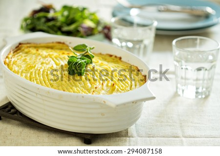Vegan shepherd pie with lentils and mashed potatoes - stock photo