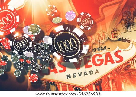 Vegas Gambling Concept. Las Vegas Casino Games Concept Illustration.