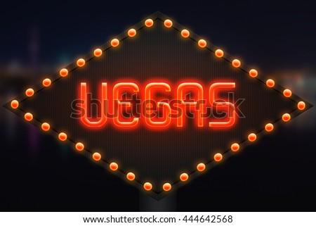Vegas Neon Backdrop - stock photo