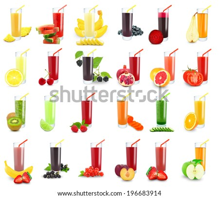 vegetable and fruit juice in glass on white background  - stock photo