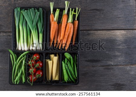 vegetable background, from above on wooden table - stock photo