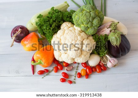 Vegetable background top view. - stock photo