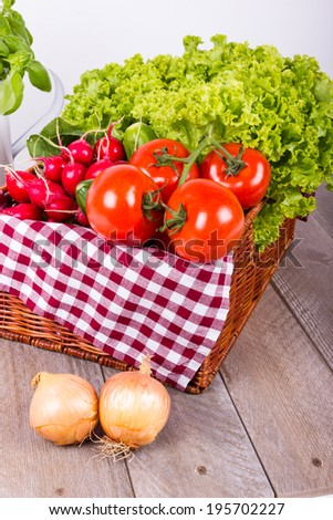 Vegetable basket with vegetables