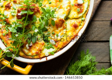 vegetable casserole, top view, food - stock photo