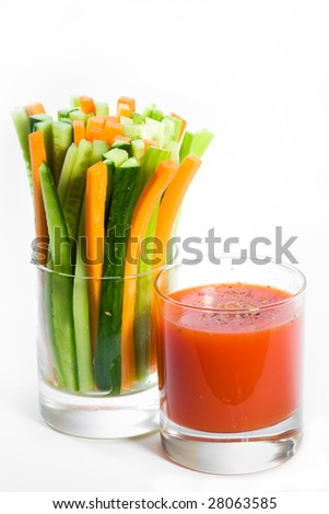 Vegetable coctail on white background