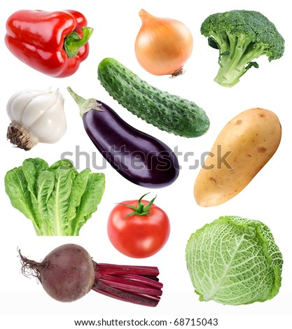 Vegetable collection isolated on a white background. File contains a path to cut. - stock photo