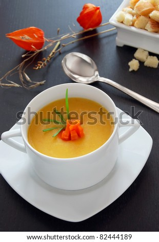 Vegetable cream soup with croutons - stock photo