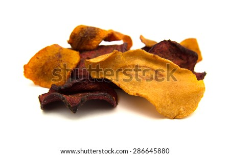 vegetable crisps - parsnip, carrot, beetroot - isolated on white background - stock photo