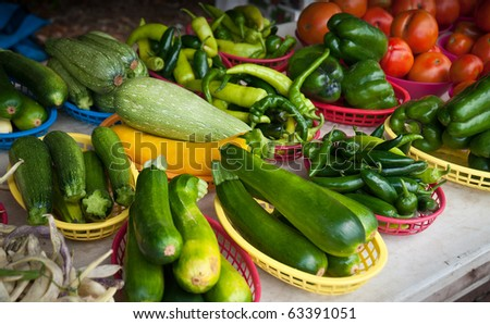Vegetable Display - Farmer's Market produce on display - stock photo