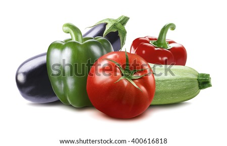 Vegetable eggplant, squash, tomato, zucchini ratatouille ingredients isolated on white background as horizontal long package design element - stock photo