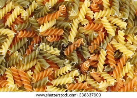 Vegetable fusilli, pasta traditional from Italy