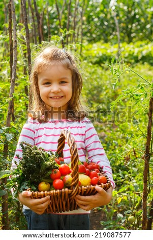 Vegetable garden, child - lovely girl with the basket of ecological harvests